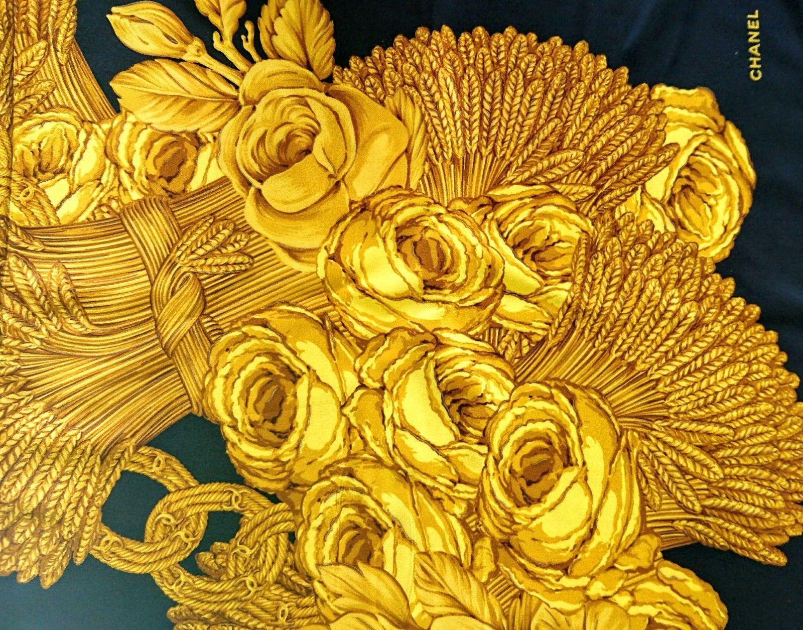 342ca93b1646 CHANEL scarf gold jewelry FRANCE 100% SILK ITALY foulard black camelia  vintage   eBay