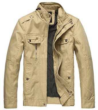 Wantdo Men's Cotton Stand Collar Lightweight Front Zip Jacket ...