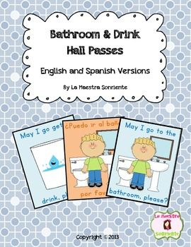 Bathroom Drink Management Passes Spanish And English Elementary Spanish Elementary Spanish Lessons Spanish