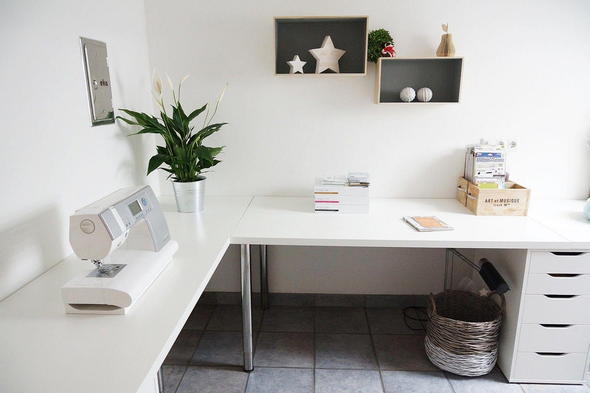 Black Gaming Computer Desk Setup with IKEA LINNMON Corner Desk and ...