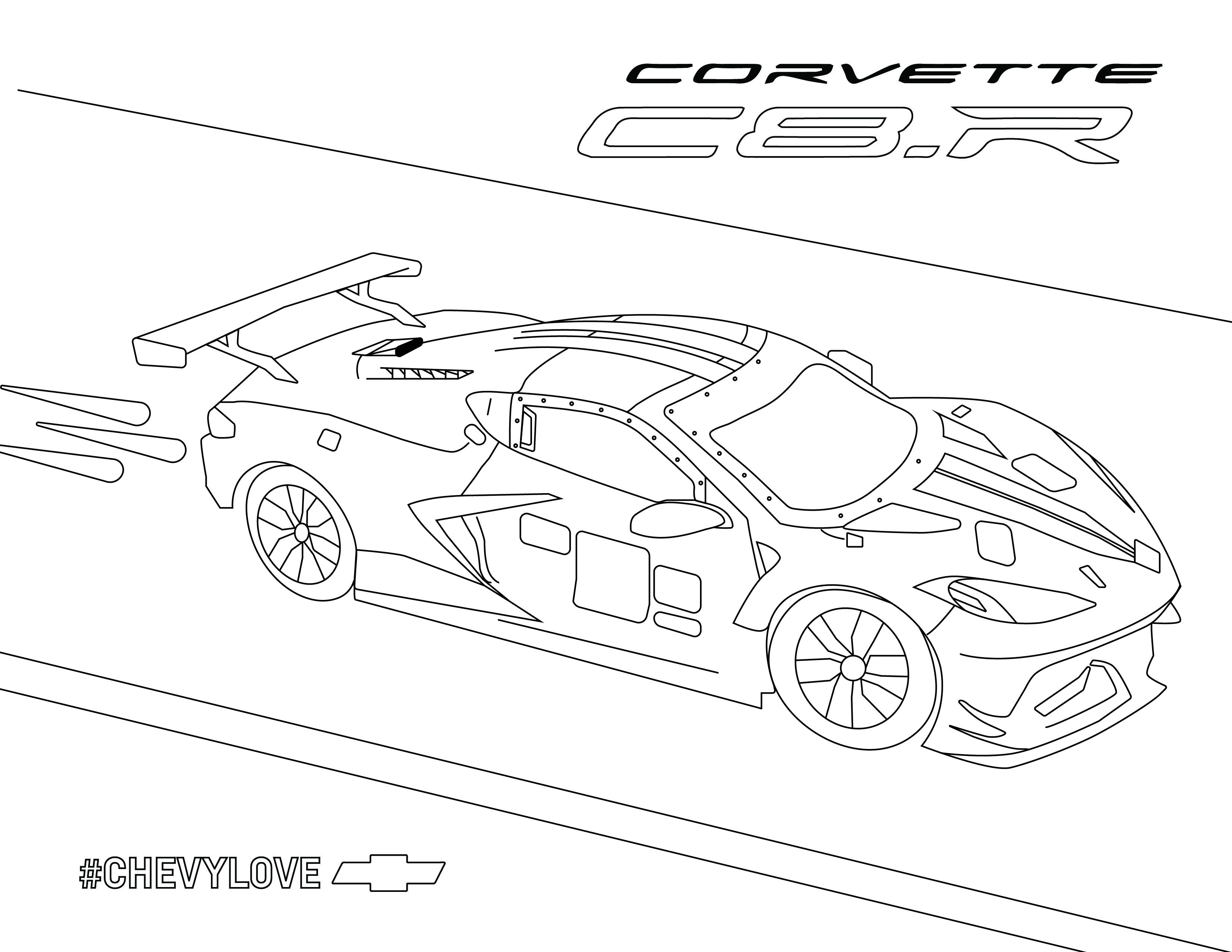 Corvette C8 R In 2020 Chevy Silverado Hd Coloring Books Car Activities