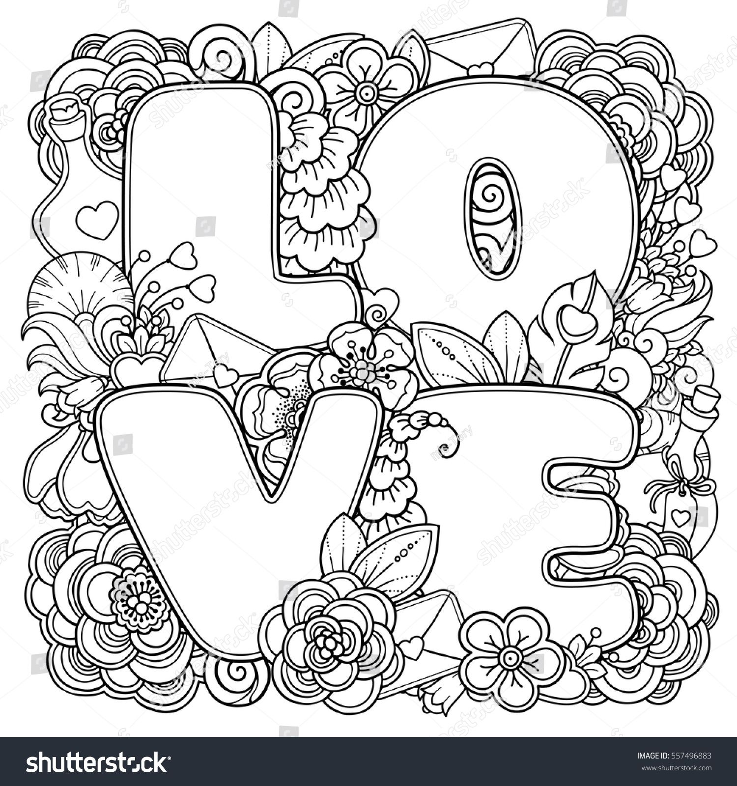 Stock Vector Love Composition In Doodle Style Floral