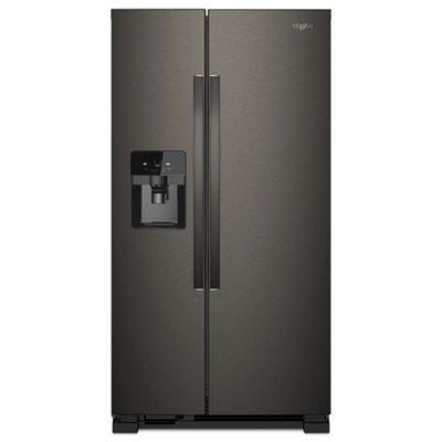Whirlpool Refrigerator Wrs555sihv 24 5 Cubic Ft Black Stainless Side By Side Side By Side Refrigerator Stainless Steel Refrigerator Black Stainless Steel