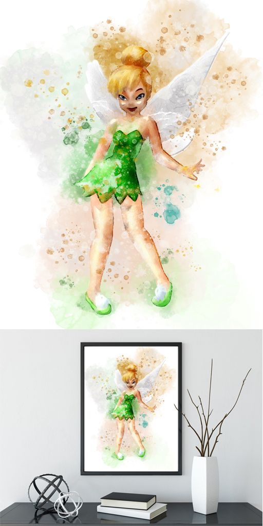 Tinkerbell Print Disney Inspired Fairy Print Watercolor Tinkerbell