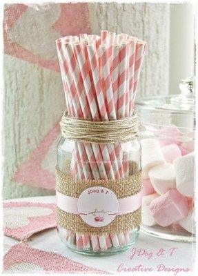 BABY PINK PAPER DRINKING STRAWS STRIPED RETRO VINTAGE WEDDING PARTY JDOG & T   eBay