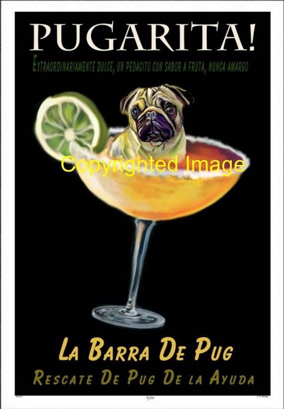 Pug art Vintage Style Poster dog Margarita Pugarita by Pupsketches ...
