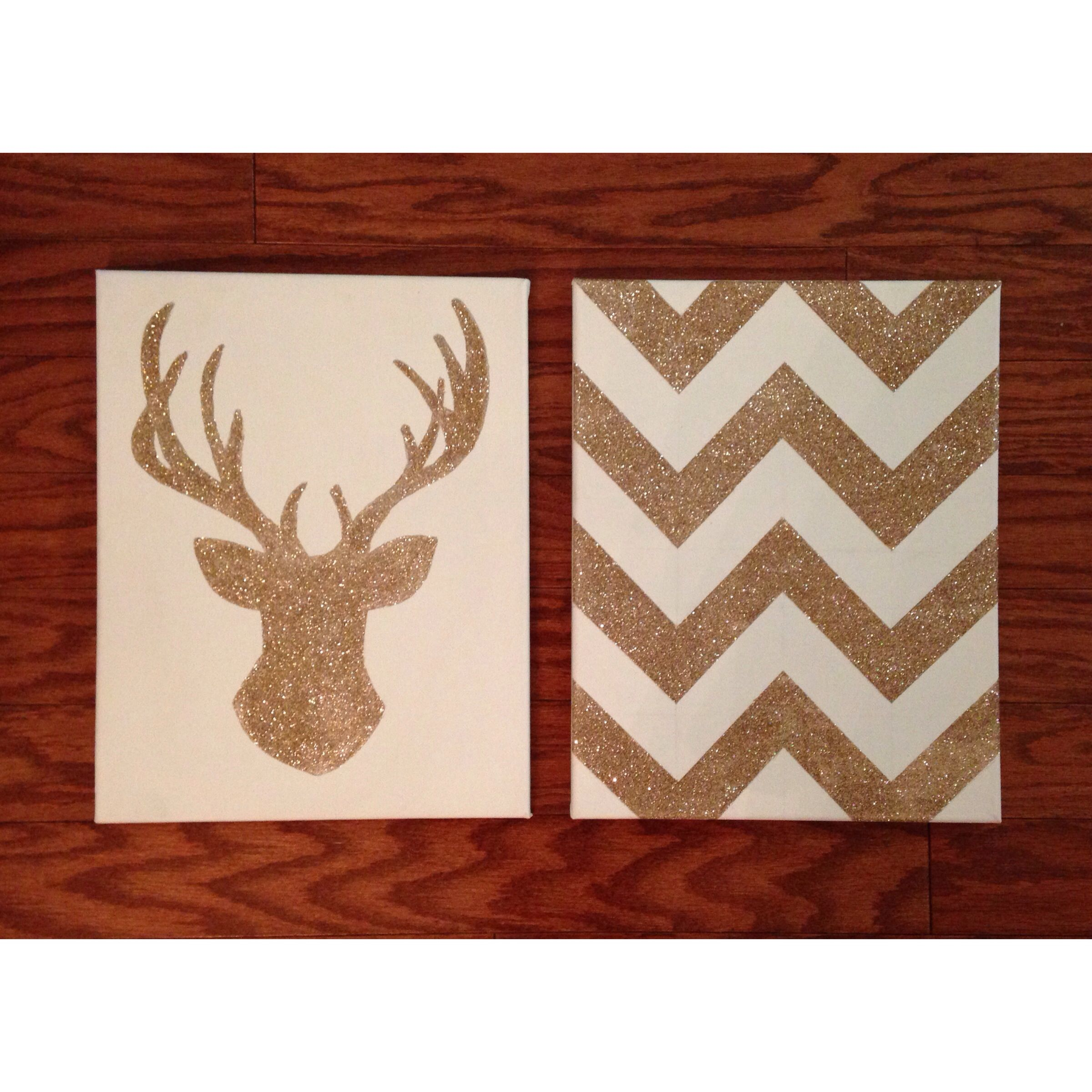 Diy Glitter Chevron Amp Deer Head On Canvas Inspired By