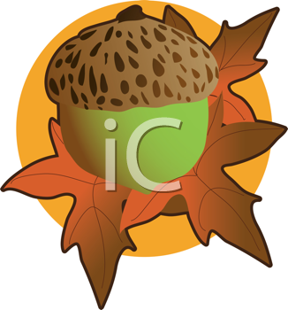 iCLIPART - Royalty Free Clipart Image of an Acorn and Autumn Leaves