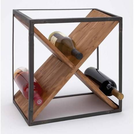 Modern Crisscross Wood Wine Rack In Metal Cubicle Frame