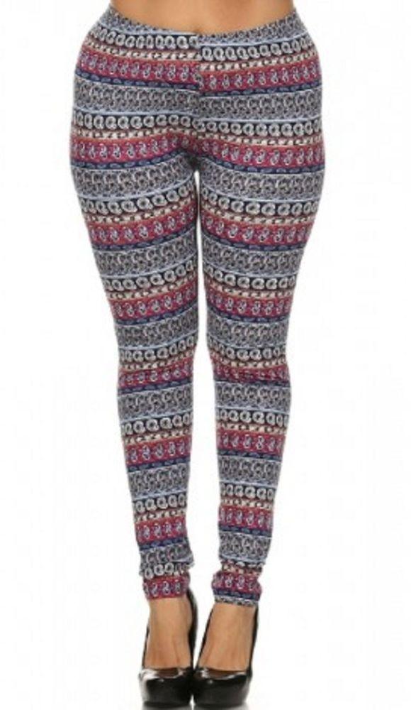 Plus Size Leggings, Pants, Yoga, Multi-color, Soft, Stretchy, 1x ...