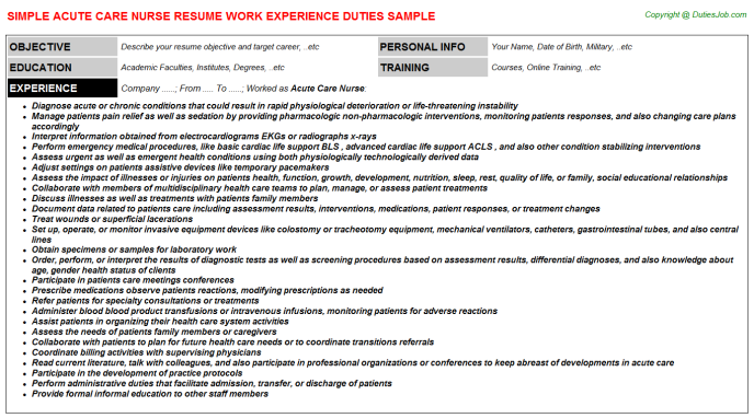 10 acute care nurse practitioner resume
