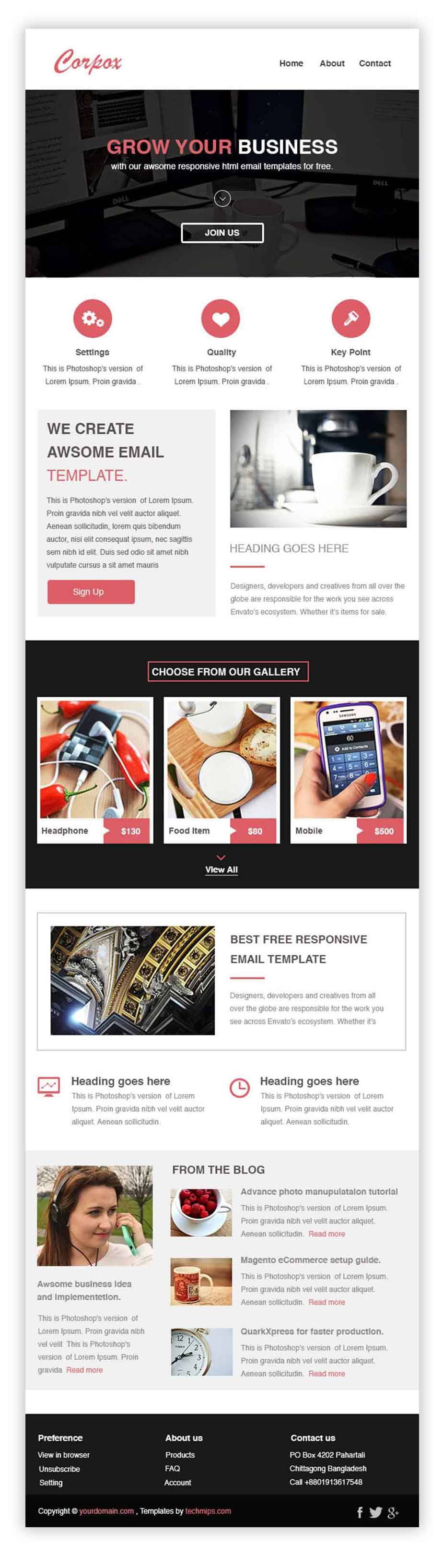 Corpox Is Our Second Free Responsive Html Email Newsletter Templates