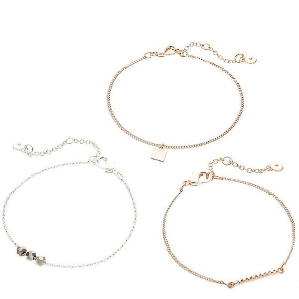 LC Lauren Conrad Beaded, Bar Link & Charm Bracelet Set (Black) ($13) ❤ liked on Polyvore featuring jewelry, bracelets, black, black jewelry, beaded bangles, bead bracelet, bracelet jewelry and bead charm bracelet