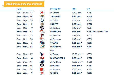 san diego chargers 2016 schedule announced san diego chargers