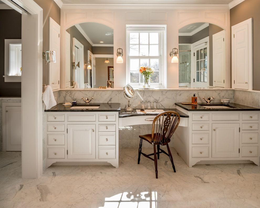 vanity makeup with marble floor bathroom victorian and