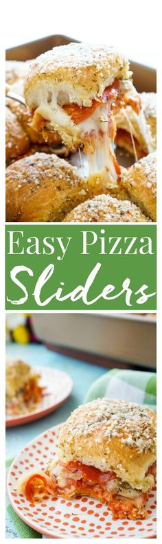 These Easy Pizza Sliders are so simple to make and are sure to be a family favorite! Layers of sauce, mozzarella, bacon, and pepperoni are baked in soft dinner rolls coated in butter, herbs, and parmesan!