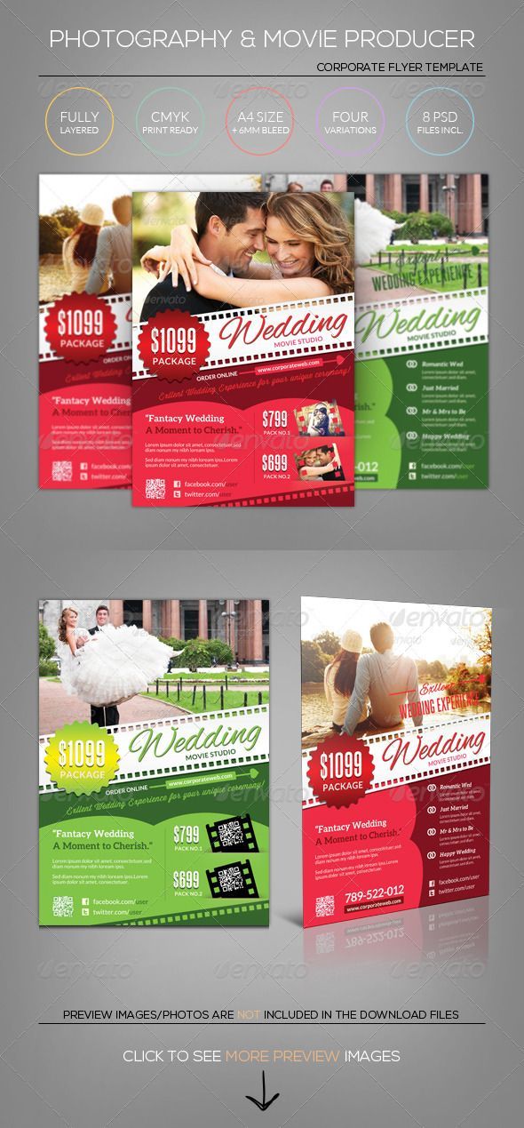 wedding photographymoviefilm flyer template