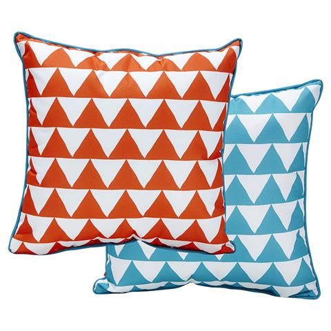 Outdoor Chair Cushion   Orange/Blue Triangles | Kmart