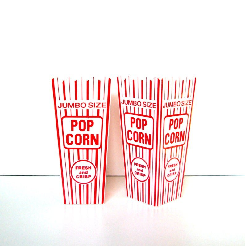 Vintage Pop Corn Holders Set Of 2 Jumbo Size Hard Plastic Reusable Pop Corn Holders Red And White Pop Corn Kitsch Movie Night Paper Pop Plastic Pop Vintage Housewares