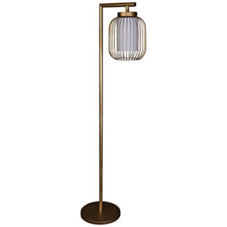Idalia Dull Gold Wire Cage Metal Floor Lamp Metal Floor Lamps Floor Lamp Lamp