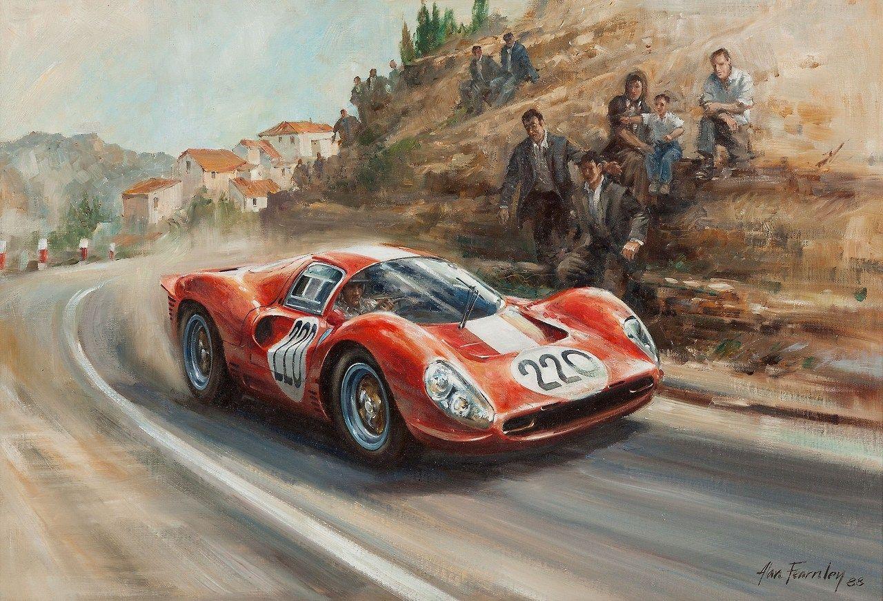 Peinture D'Alan Fearnley Ferrari 412 P de la Scuderia