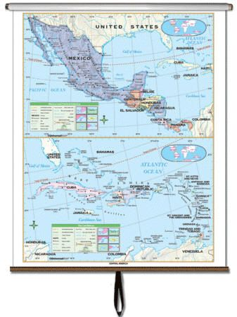wall map middle america political