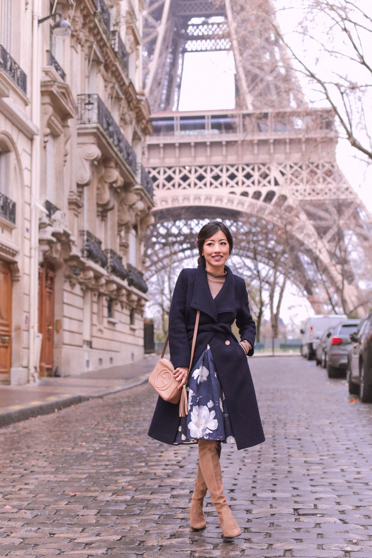 Floral + tan at the Eiffel Tower | Professional fashion