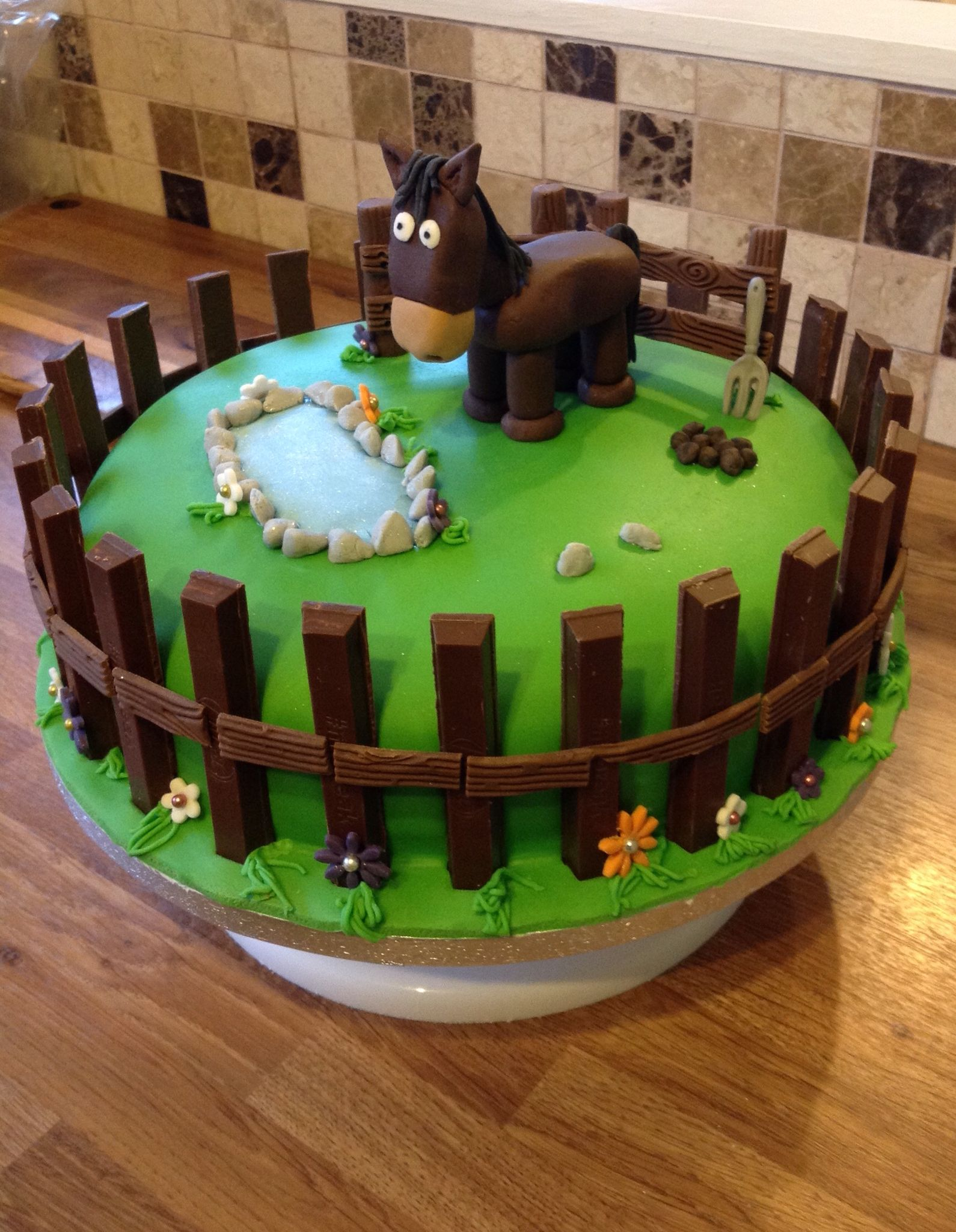 Made This Horse Theme Cake Vanilla Sponge With Buttercream And