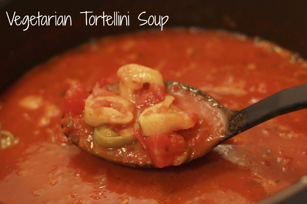 Vegetarian Tortellini Soup makes an easy dinner! All you need is some frozen tortellini and a few other pantry staples!