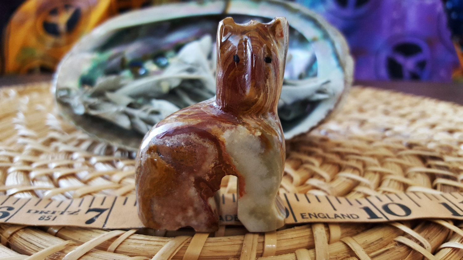 Pakistani Onyx Cat ~ One Reiki Infused gemstone cat approx 2 inches high (E03) by Kiliamma on Etsy