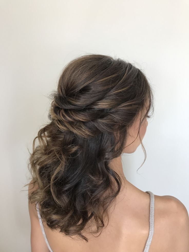 Half Up Half Down Twists Hairstyle For Short Hair Bridal Hair Half Up Curly Prom Hair Bridal Hair Half Up Half Down