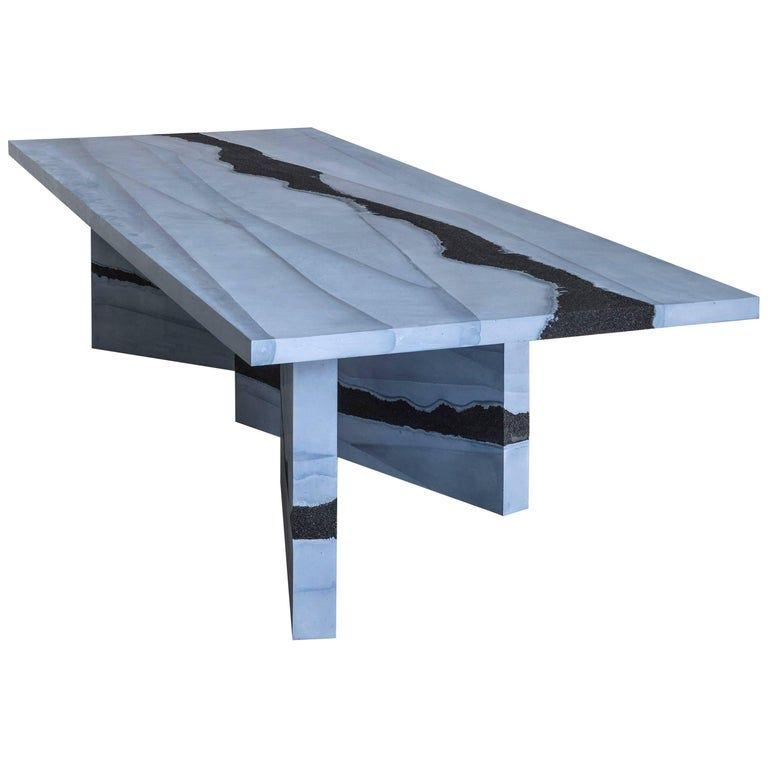 Stag Dining Table Slate Cement And Black Silica By Fernando