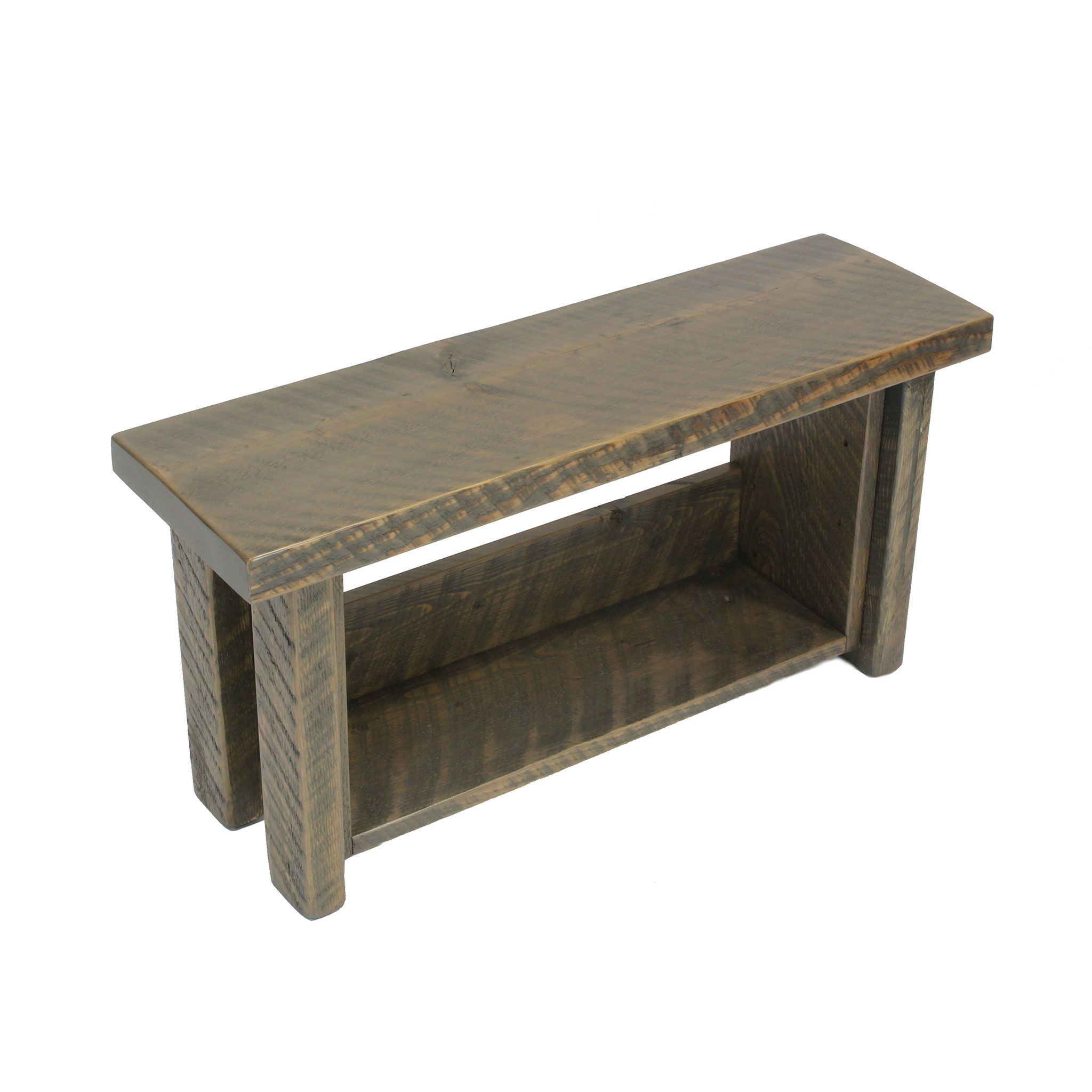 Rustic storage shelf bench made from solid circle sawn fir stained