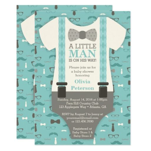 Little Man Baby Shower Invitation in Teal, Tan, and Ivory Baby - how to make a baby shower invitation on microsoft word