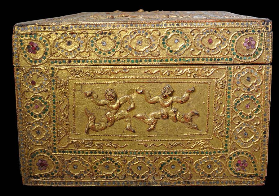 Burmese Gilded Lacquer Wood Storage Box Michael Backman