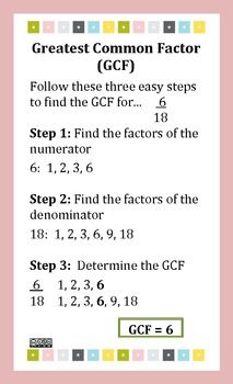Greatest Common Factor  Least Common Multiple Poster