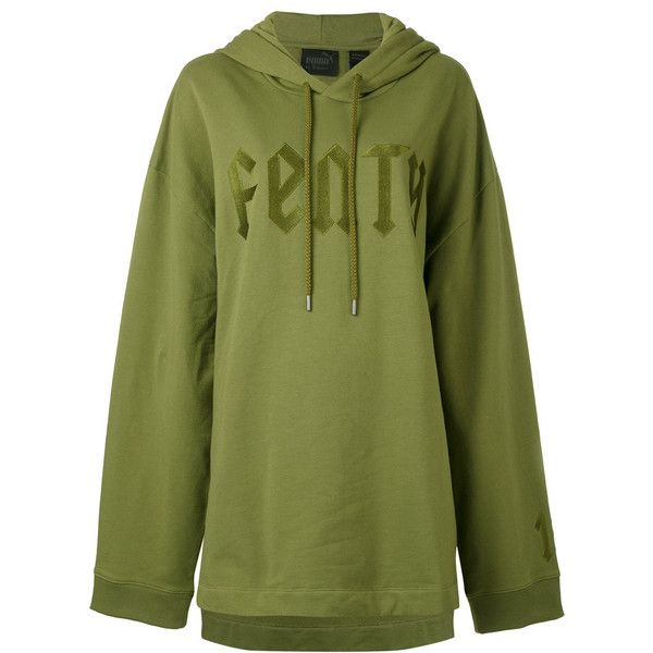 Fenty Graphic Hoody ($125) ❤ liked on Polyvore featuring tops, hoodies, green, oversized tops, hooded sweatshirt, oversized hooded sweatshirt, sweatshirt hoodies and graphic tops