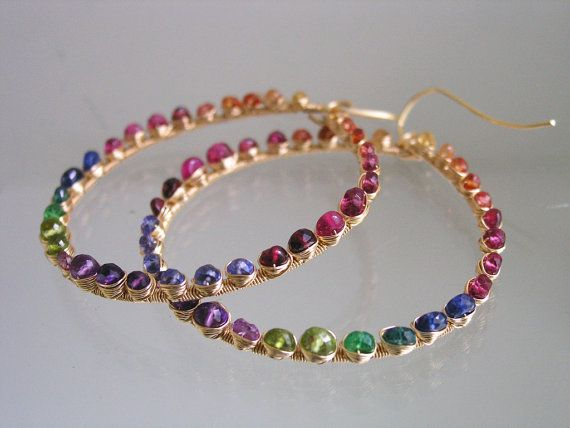 Rainbow Gemstone Gold Filled Hoops, Colorful Earrings, Bohemian, Wire Wrapped, Sapphire, Tourmaline, Tanzanite, Original Design, Signature