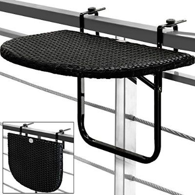 b190fb16e9e40 Table de balcon tablette suspendue ajustable en hauteur - rabattable rotin  noir
