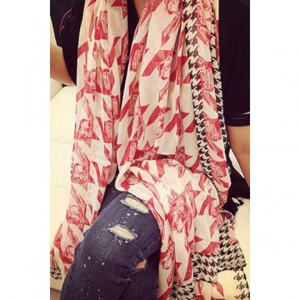 Red Houndstooth Print Scarf