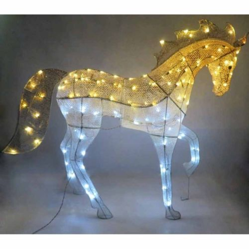 glimmer shimmer fabric horse christmas yard decor dazzling display led lights allproceedsgotohelpthedisabled christmas yard decorations - Christmas Horse Yard Decorations