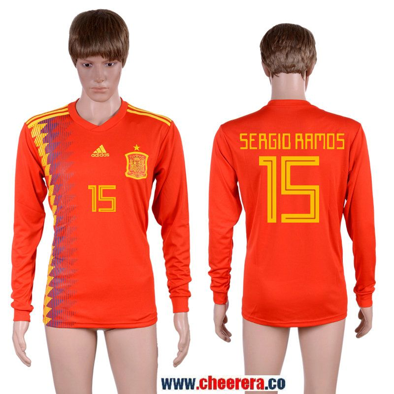 new style ed30e 49e78 Spain 15 SERGIO RAMOS Home 2018 FIFA World Cup Long Sleeve ...