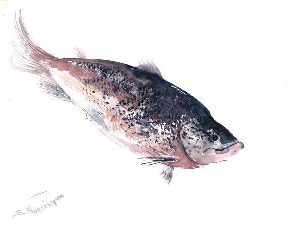 Salmon painting Original watercolor painting 14 X by ORIGINALONLY