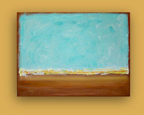 Aqua and Tan Original Beach Painting with Acrylics by orabirenbaum