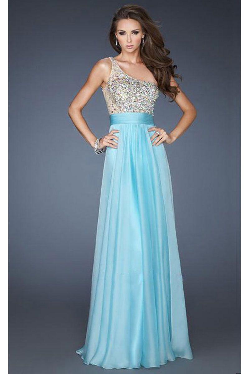 One Shoulder Natural Waist Floor-Length Prom Dress | Cheap prom ...