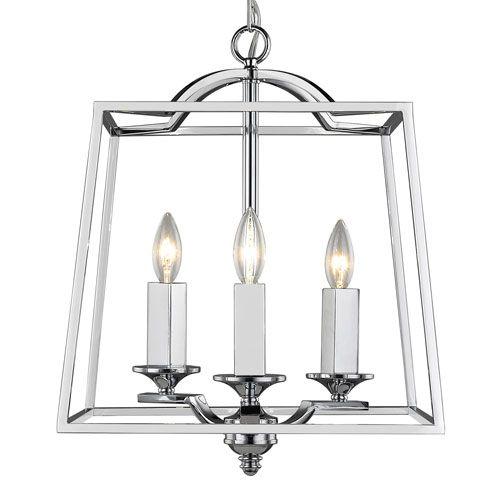 Athena Chrome Three Light Pendant Golden Lighting Lantern Ceiling Lightin