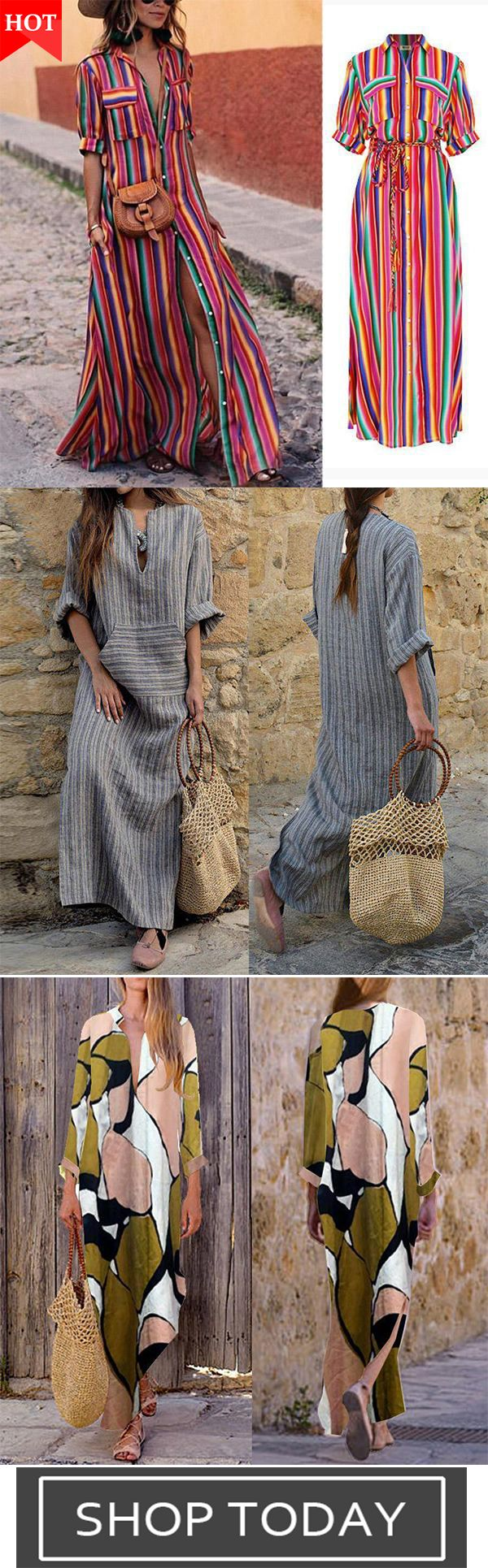 b605fd7fdf9 Button Down Collar Stripes Roll Up Sleeve Half Sleeve Maxi Dresses Casual  Loose Maxi Dresses Cotton Linen Striped Long Sleeve Dress Fashion Print V  Neck ...