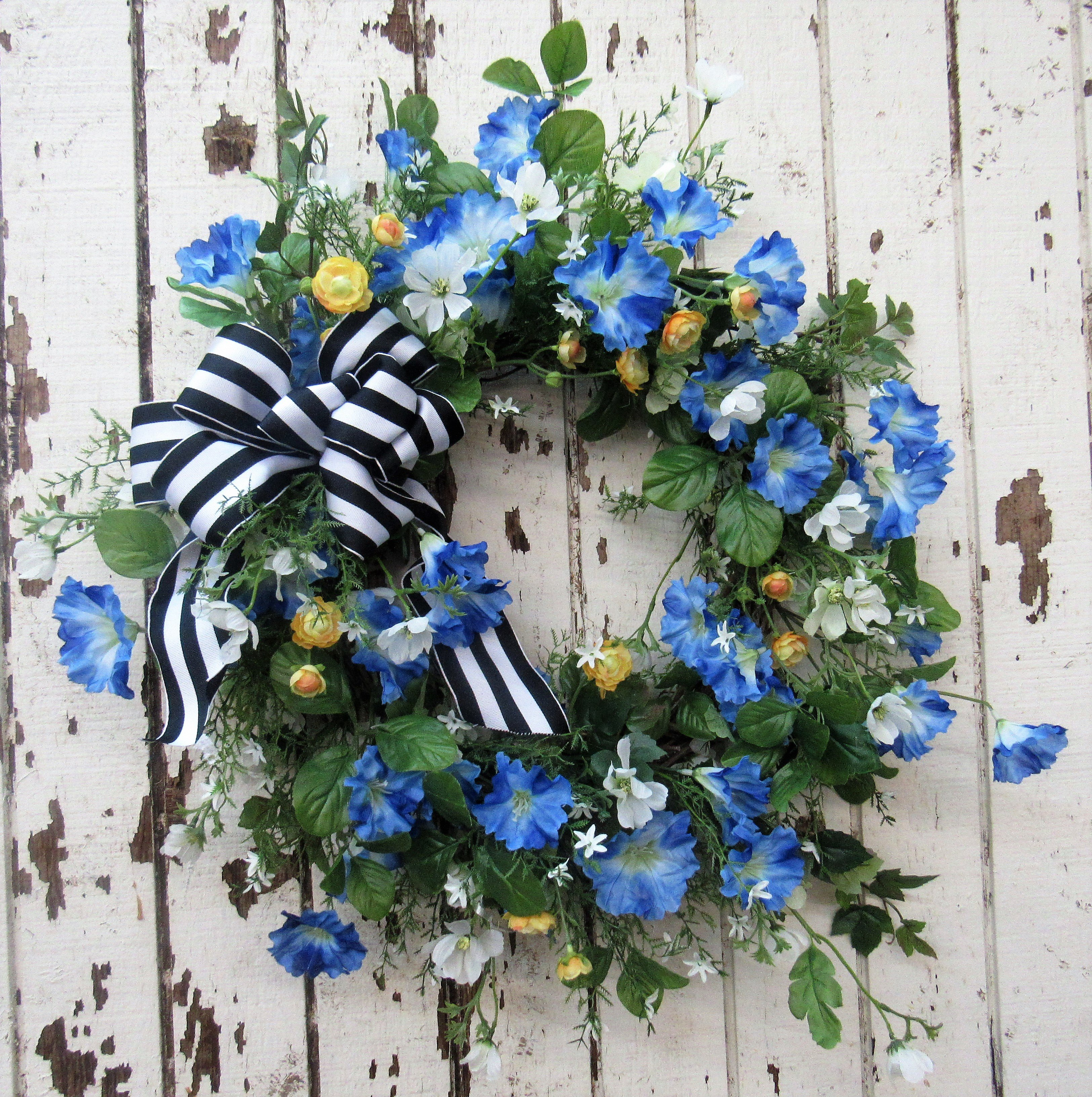 Blue And Yellow Silk Floral Spring Summer Front Door Wreath Eng15