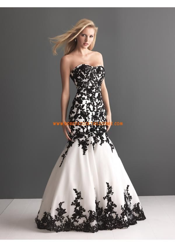 belle robe de mari e sir ne 2013 noire et blanche appliques organza robes de mari e 2016. Black Bedroom Furniture Sets. Home Design Ideas