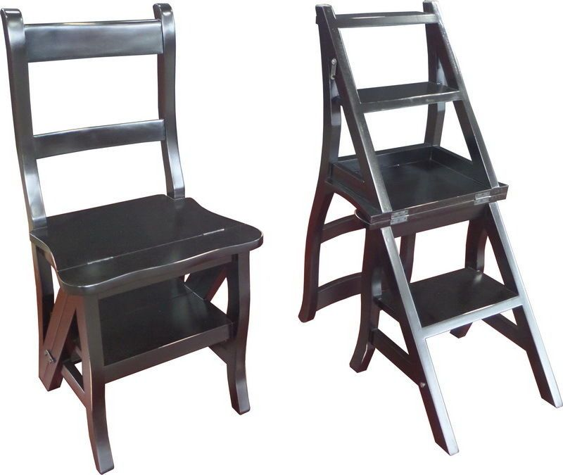Library Black Step Chair Antique Repro OCS023B Mahogany /'Metamorphic/' Office